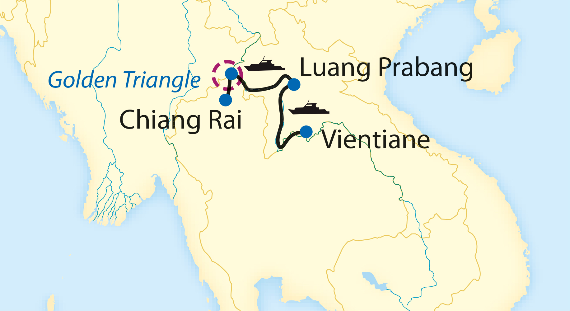 Map: The Golden Triangle: Laos & Thailand